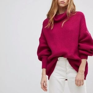 Free People | Pink Knit Oversized Sweater